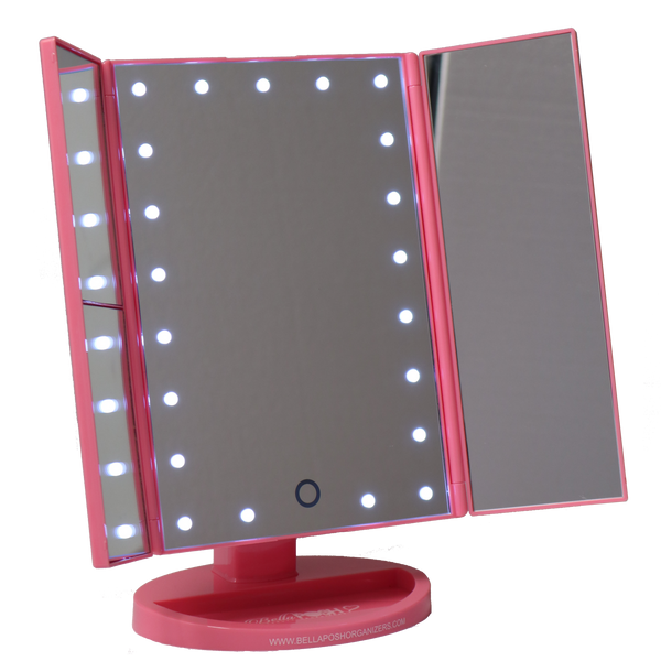 Three Panel Portable Led Vanity Mirror Bellaposh Organizers