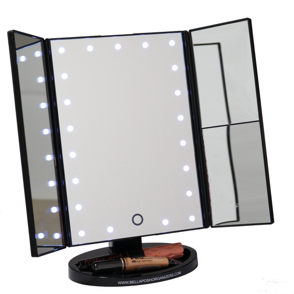 Vanity Mirror With Lights Portable : THREE PANEL PORTABLE LED VANITY MIRROR Bellaposh Organizers