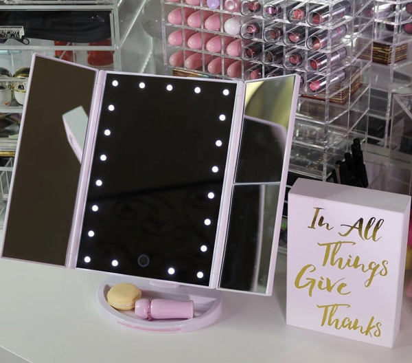 THREE PANEL PORTABLE LED VANITY MIRROR