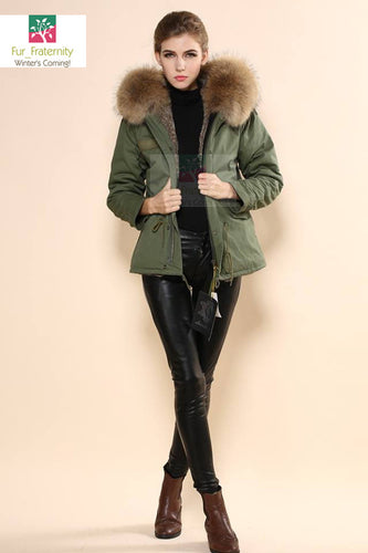 Mr & Mrs Military Style High Quality Khaki Natural Raccoon Fur Hood Parka NO CHEAP COPY