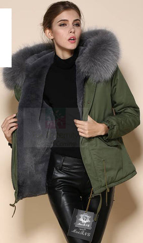 Mr & Mrs High Quality Khaki Grey Raccoon Fur Hood Parka NO CHEAP COPY