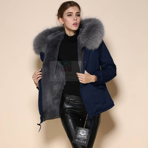Mr & Mrs High Quality Navy Grey Raccoon Fur Hood Parka NO CHEAP COPY