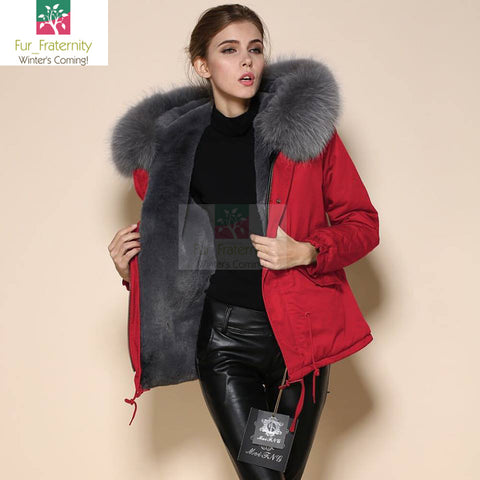 Mr & Mrs High Quality Red Grey Raccoon Fur Hood Parka NO CHEAP COPY