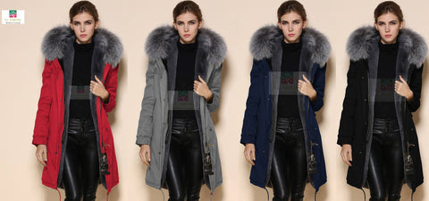 2017 Best Value Mr&Mrs Style Grey Luxury Fur Hood Parka Coat Jacket