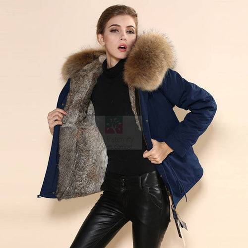 Mr & Mrs Military Style High Quality Navy Natural Raccoon Fur Hood Parka NO CHEAP COPY