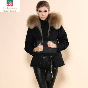 Mr & Mrs Military Style High Quality Black Natural Raccoon Fur Hood Parka NO CHEAP COPY