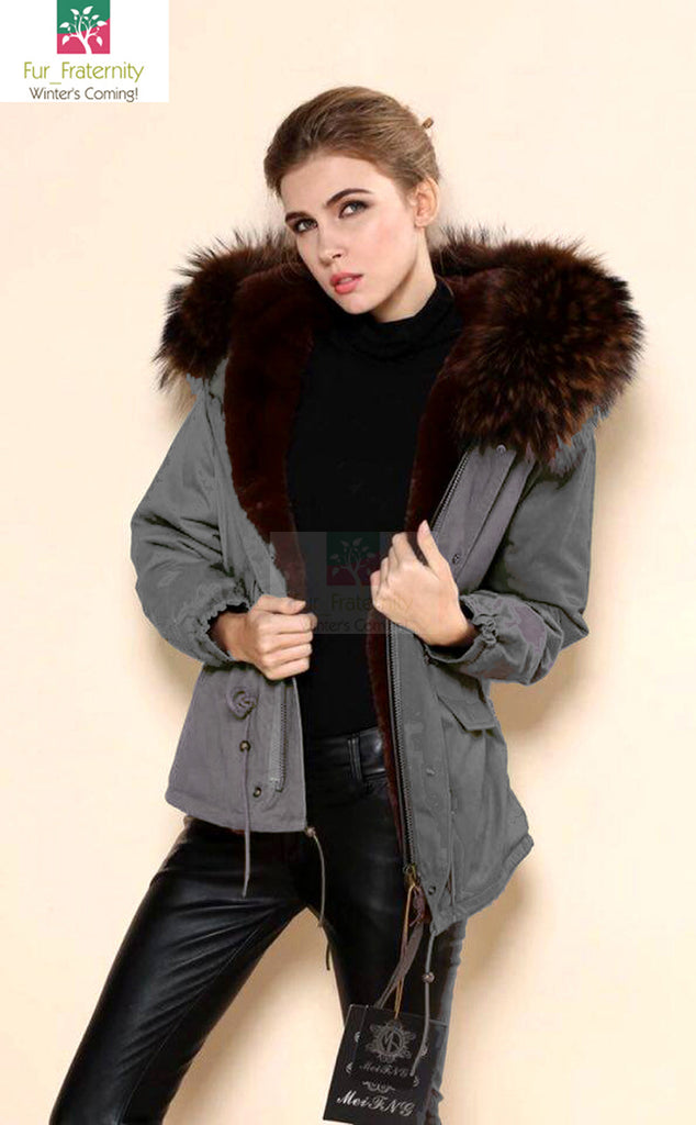 Mr & Mrs Military Style High Quality Grey Coffee Brown Fur Hood Parka NO CHEAP COPY