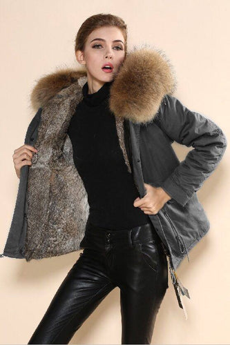 Mr & Mrs Military Style High Quality Grey Natural Raccoon Fur Hood Parka NO CHEAP COPY