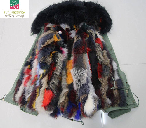 MULTI COLOUR RACCOON WITH  FOX FUR PARKA IN HIGH QUALITY