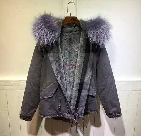 2017Best Price Mr & Mrs Style High Quality Grey Grey Raccoon Fur Parka Coat Jacket For Women