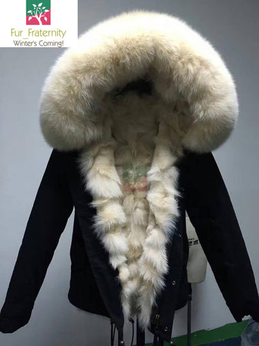 2018 HIGH QUALITY FAMOUS BLACK WITH IVORY FOX/REX FUR PARKA