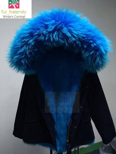 2018 HIGH QUALITY FAMOUS BLACK ELECTRIC BLUE REAL FOX  FUR PARKA