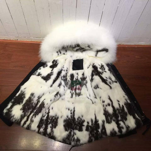 NEW 2017 MR & MRS STYLE BLACK WITH WHITE RABBIT FUR HOOD PARKA