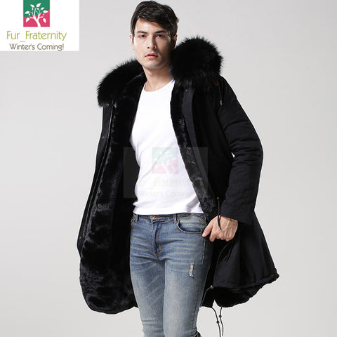 2017 Black with Black Men Mr & Mrs Style Luxury Fur Lined Parka Winter Jacket Coat LONG & SHORT