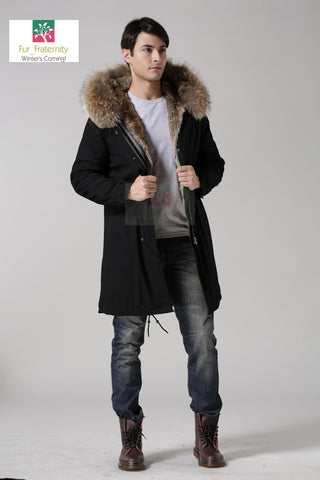 2017 Black with Natural Men Mr & Mrs Style Luxury Fur Lined Parka Winter Jacket Coat LONG & SHORT