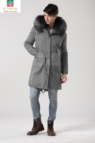 2017 Grey with Grey Men Mr & Mrs Style Luxury Fur Lined Parka Winter Jacket Coat LONG & SHORT