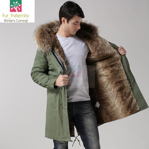 2017 Khaki with Natural Men Mr & Mrs Style Luxury Fur Lined Parka Winter Jacket Coat LONG & SHORT