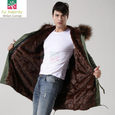 2017 Khaki with Brown Men Mr & Mrs Style Luxury Fur Lined Parka Winter Jacket Coat LONG & SHORT