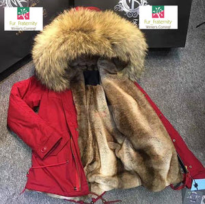 Mr & Mrs Military Style High Quality Red Natural Raccoon Fur Hood Parka NO CHEAP COPY