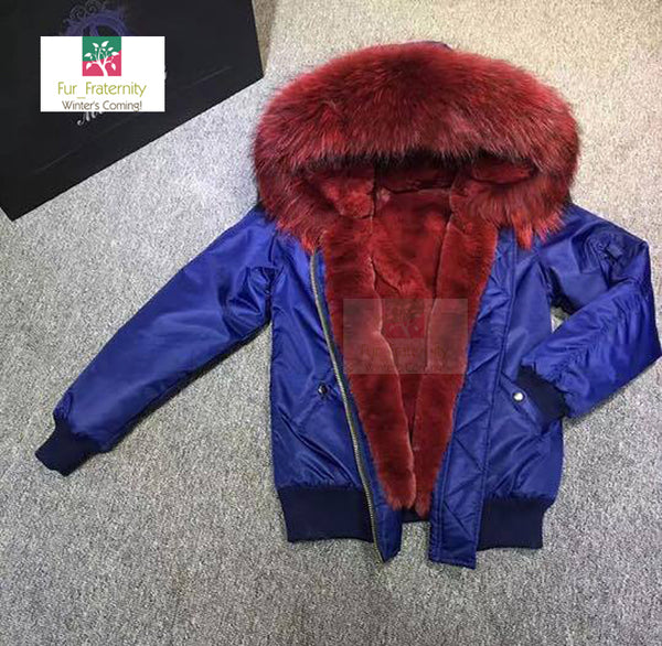 2017 Best Price Mr & Mrs Style High Quality Navy Red Luxury Raccoon Fur Bomber Coat Jacket Parka