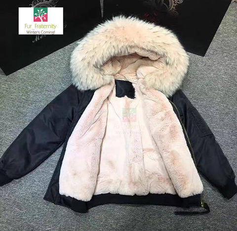 2017 Best Price Mr & Mrs Style High Quality Black Fresh Pink Luxury Raccoon Fur Bomber Coat Jacket Parka