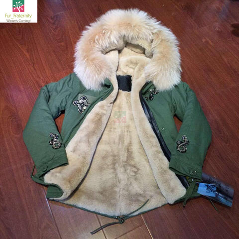 2017 Best Price Mr & Mrs Style High Quality Khaki Nude  Luxury Raccoon Fur Coat Jacket Parka