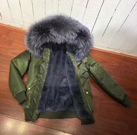 2017 Best Price Mr & Mrs Style High Quality Khaki Grey Luxury Raccoon Fur Bomber Parka Coat Jacket