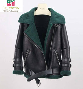 SIZE SMALL COST PRICE 2017 Best Price New arrival Real SHearling sheep fur biker jacket genuine leather jackets Sheepskin wool Unisex Coat