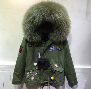 2017 Best Price Mr & Mrs Style High Quality Khaki Leaf Green Luxury Raccoon Fur Parka Coat Jacket
