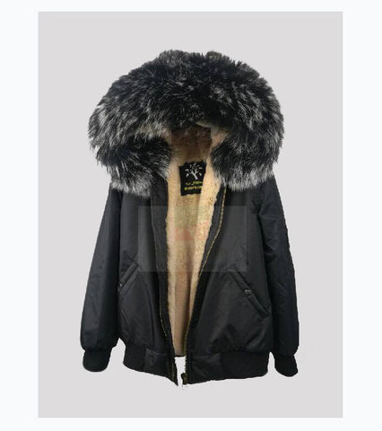 2017 Best Price Mr & Mrs Style High Quality Black Nude Luxury Raccoon Fur Bomber  Coat Jacket Parka