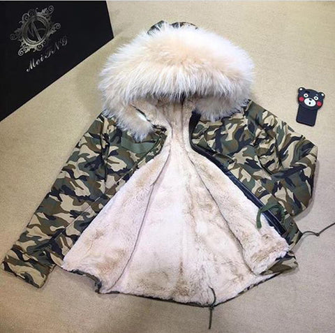 2017 Best Price Mr & Mrs Style High Quality Camouflage Nude  Luxury Raccoon Fur Coat Jacket Parka