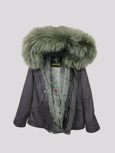 2017 Best Price Mr & Mrs Style High Quality Grey Leaf Green Luxury Raccoon Fur Parka Coat Jacket