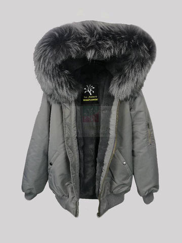 2017 Best Price Mr & Mrs Style High Quality Grey Grey Luxury Raccoon Fur Bomber Parka Coat Jacket
