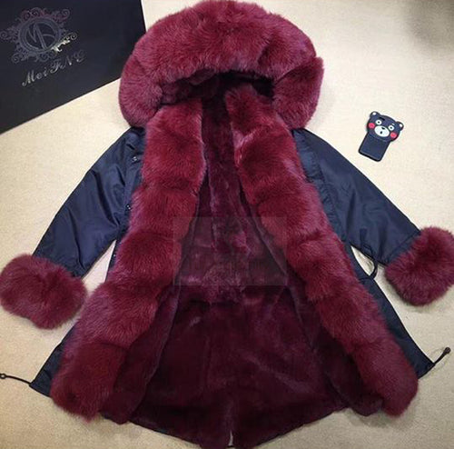 2018 Best Value Long Luxury Red Wine Fox Fur Trim Parka With Dark Blue Shell