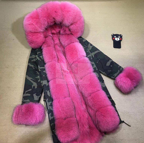 2018 High Quality Long Fuschia With Camouflage Shell Fox Fur Trim Parka Jacket