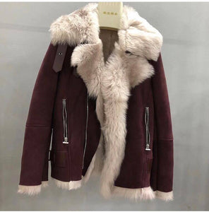 2017 Best Price New arrival Real SHearling sheep fur biker jacket genuine leather jackets Sheepskin wool Unisex Coat