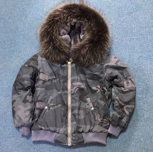 NEW GREY CAMOUFLAGE WATERPROOF REAL FUR PARKA BOMBER ALL SIZES