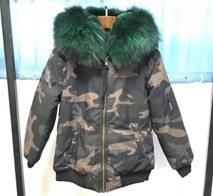 NEW CAMOUFLAGE WATERPROOF REAL FUR PARKA BOMBER ALL SIZES