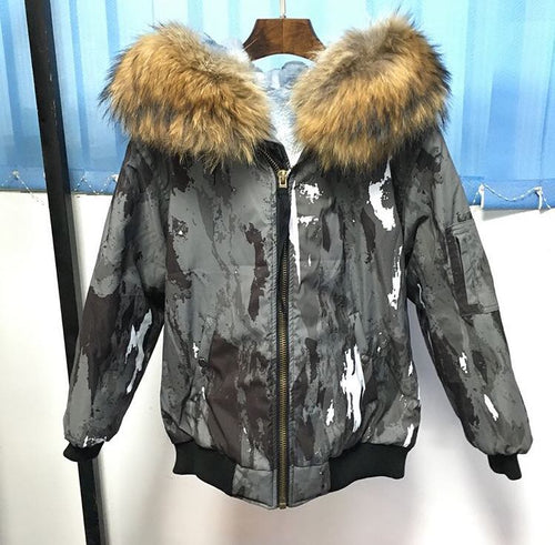 NEW GREY GRAFFITI WATERPROOF REAL FUR PARKA BOMBER ALL SIZES