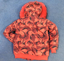 NEW ORANGE GRAFFITI WATERPROOF REAL FUR PARKA BOMBER ALL SIZES