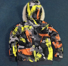 NEW YELLOW GRAFFITI WATERPROOF REAL FUR PARKA BOMBER ALL SIZES