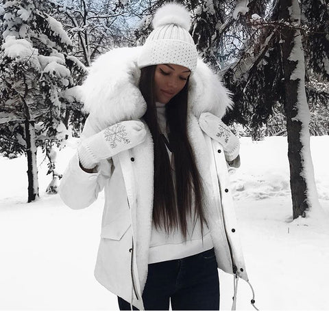 MR AND MRS STYLE HIGH QUALITY SNOW WHITE PARKA WITH WHITE FUR