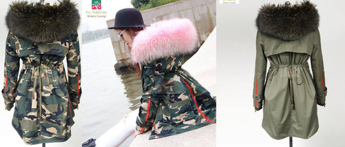 2018 UK Stock High Quality Fur Lined Original Raccoon Fur Big Hood Parka Military Coat Jacket