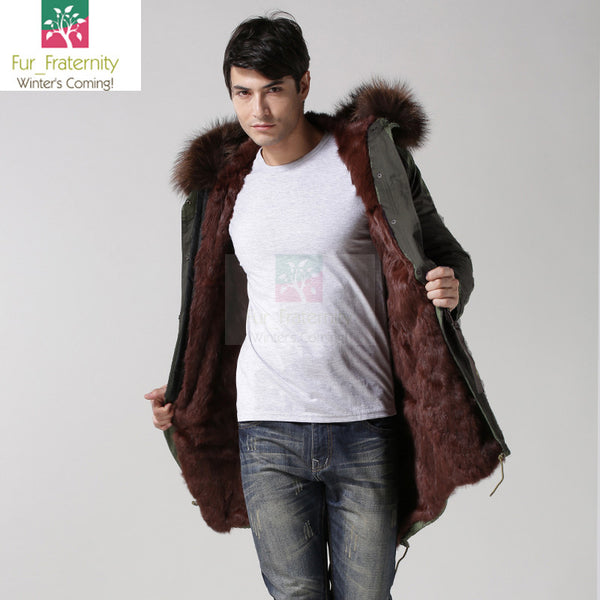 2017 Black with Brown Men Mr & Mrs Style Luxury Fur Lined Parka Winter Jacket Coat LONG & SHORT