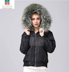 2017 Best Price Mr & Mrs Style High Quality Black Leaf Green Luxury Raccoon Fur Bomber Coat Jacket Parka