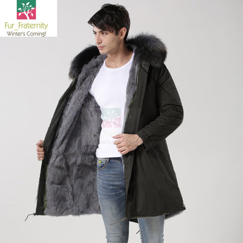 2017 Black with Grey Men Mr & Mrs Style Luxury Fur Lined Parka Winter Jacket Coat LONG & SHORT
