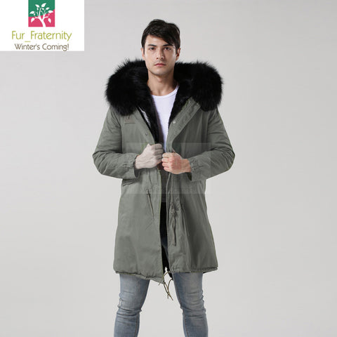2017 Grey with Black Men Mr & Mrs Style Luxury Fur Lined Parka Winter Jacket Coat LONG & SHORT