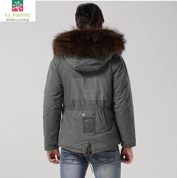 2017 Grey with Brown Men Mr & Mrs Style Luxury Fur Lined Parka Winter Jacket Coat LONG & SHORT