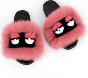 2018 Fendi Style NEW summer  women's shoes real fox fur slipper women luxury indoor slides flats fluffy big fox sandals