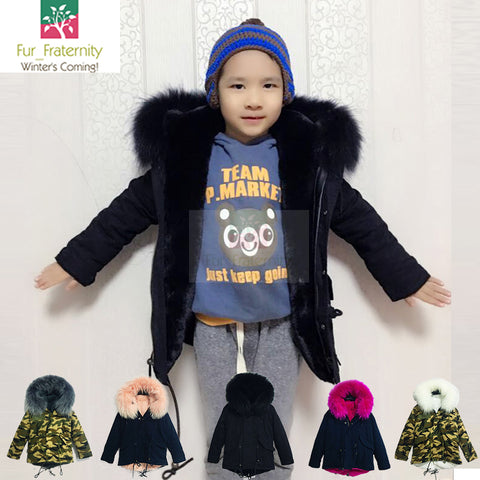 2017 MR & MRS STYLE HIGH QUALITY RACCOON FUR KIDS PARKA JACKET COAT